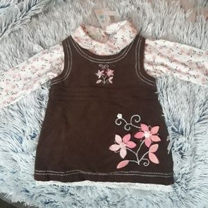 BabiesRUs Dresses - NWT two pc girl's dress with flower embroidery